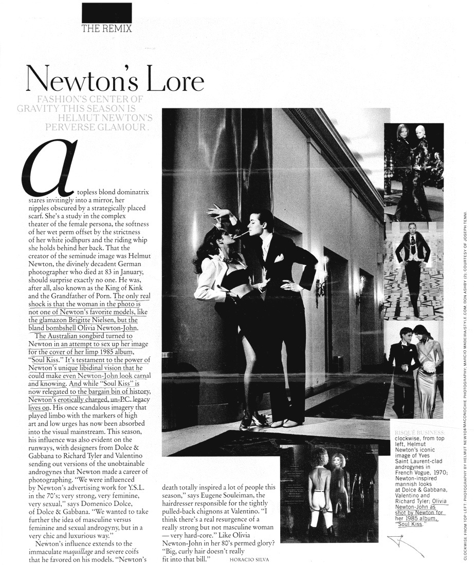 (Helmut) Newton's lore - New York Times