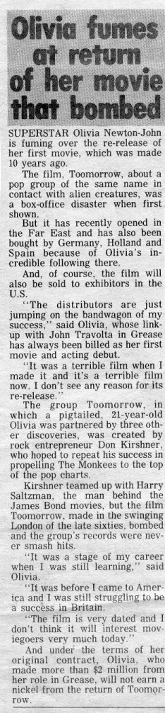 Olivia fumes at return of movie that bombed